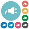 Power plug flat round icons - Power plug flat white icons on round color backgrounds