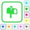Mailbox vivid colored flat icons - Mailbox vivid colored flat icons in curved borders on white background