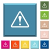 Triangle shaped warning sign white icons on edged square buttons - Triangle shaped warning sign white icons on edged square buttons in various trendy colors