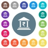 Indian Rupee bank office flat white icons on round color backgrounds - Indian Rupee bank office flat white icons on round color backgrounds. 17 background color variations are included.