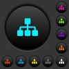 Network dark push buttons with vivid color icons on dark grey background - Network dark push buttons with color icons