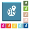 GPS location with globe symbol white icons on edged square buttons - GPS location with globe symbol white icons on edged square buttons in various trendy colors