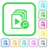 Find playlist item vivid colored flat icons in curved borders on white background - Find playlist item vivid colored flat icons