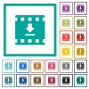 Download movie flat color icons with quadrant frames - Download movie flat color icons with quadrant frames on white background