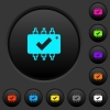 Hardware checked dark push buttons with color icons - Hardware checked dark push buttons with vivid color icons on dark grey background