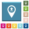 Upload GPS map location white icons on edged square buttons - Upload GPS map location white icons on edged square buttons in various trendy colors