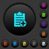 Add new note dark push buttons with vivid color icons on dark grey background