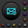Mail settings dark push buttons with color icons - Mail settings dark push buttons with vivid color icons on dark grey background