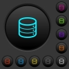 Single database dark push buttons with vivid color icons on dark grey background - Single database dark push buttons with color icons