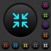 Minimize arrows dark push buttons with color icons - Minimize arrows dark push buttons with vivid color icons on dark grey background