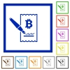 Signing Bitcoin cheque flat framed icons - Signing Bitcoin cheque flat color icons in square frames on white background