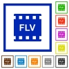 FLV movie format flat framed icons - FLV movie format flat color icons in square frames on white background