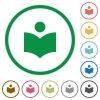 Library flat icons with outlines - Library flat color icons in round outlines on white background
