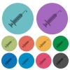Syringe with drop color darker flat icons - Syringe with drop darker flat icons on color round background