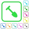 Shovel vivid colored flat icons in curved borders on white background - Shovel vivid colored flat icons