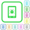 Malicious mobile software vivid colored flat icons - Malicious mobile software vivid colored flat icons in curved borders on white background