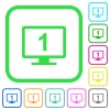 Primary display vivid colored flat icons in curved borders on white background - Primary display vivid colored flat icons