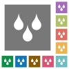Water drops square flat icons - Water drops flat icons on simple color square backgrounds