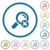 Cancel search icons with shadows and outlines - Cancel search flat color vector icons with shadows in round outlines on white background