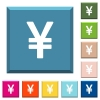 Japanese Yen sign white icons on edged square buttons - Japanese Yen sign white icons on edged square buttons in various trendy colors