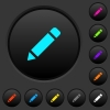 Single pencil with rubber dark push buttons with color icons - Single pencil with rubber dark push buttons with vivid color icons on dark grey background