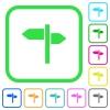 Signpost vivid colored flat icons - Signpost vivid colored flat icons in curved borders on white background