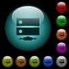 Network drive icons in color illuminated glass buttons - Network drive icons in color illuminated spherical glass buttons on black background. Can be used to black or dark templates