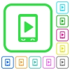 Mobile play media vivid colored flat icons - Mobile play media vivid colored flat icons in curved borders on white background