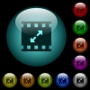 Movie resize large icons in color illuminated glass buttons - Movie resize large icons in color illuminated spherical glass buttons on black background. Can be used to black or dark templates
