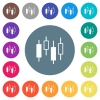 Candlestick chart flat white icons on round color backgrounds - Candlestick chart flat white icons on round color backgrounds. 17 background color variations are included.