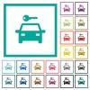 Car rental flat color icons with quadrant frames on white background - Car rental flat color icons with quadrant frames