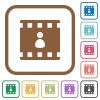 Movie author simple icons in color rounded square frames on white background