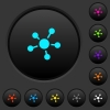 Network connections dark push buttons with color icons - Network connections dark push buttons with vivid color icons on dark grey background