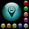 Public transport GPS map location icons in color illuminated glass buttons - Public transport GPS map location icons in color illuminated spherical glass buttons on black background. Can be used to black or dark templates