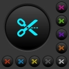 Cut out dark push buttons with color icons - Cut out dark push buttons with vivid color icons on dark grey background
