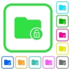 Unlock directory vivid colored flat icons - Unlock directory vivid colored flat icons in curved borders on white background