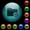 Directory settings icons in color illuminated glass buttons - Directory settings icons in color illuminated spherical glass buttons on black background. Can be used to black or dark templates