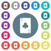 Seven of clubs card flat white icons on round color backgrounds - Seven of clubs card flat white icons on round color backgrounds. 17 background color variations are included.