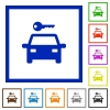 Car rental flat color icons in square frames on white background - Car rental flat framed icons