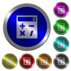 Pocket calculator luminous coin-like round color buttons - Pocket calculator icons on round luminous coin-like color steel buttons