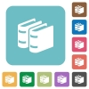 Two books white flat icons on color rounded square backgrounds - Two books rounded square flat icons