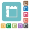 Canvas rulers rounded square flat icons - Canvas rulers white flat icons on color rounded square backgrounds