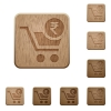 Checkout with Rupee cart wooden buttons - Checkout with Rupee cart on rounded square carved wooden button styles