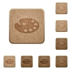 Color palette on rounded square carved wooden button styles