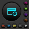 Credit card transaction history dark push buttons with vivid color icons on dark grey background - Credit card transaction history dark push buttons with color icons