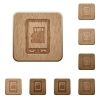 Mobile memory card wooden buttons - Mobile memory card on rounded square carved wooden button styles