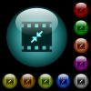 Movie resize small icons in color illuminated glass buttons - Movie resize small icons in color illuminated spherical glass buttons on black background. Can be used to black or dark templates