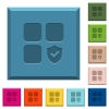 Protected component engraved icons on edged square buttons - Protected component engraved icons on edged square buttons in various trendy colors
