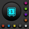 Dollar strong box dark push buttons with vivid color icons on dark grey background - Dollar strong box dark push buttons with color icons