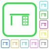 Drawer desk vivid colored flat icons - Drawer desk vivid colored flat icons in curved borders on white background